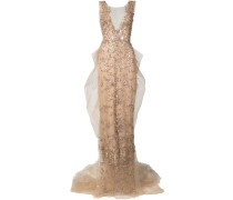 Illusion column gown - Nude