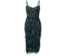 Enganliegendes Kleid mit floralem Muster - Blau