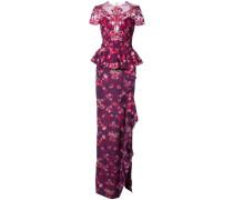 Florales Abendkleid mit Schößchen - Rosa