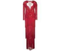 Besticktes Abendkleid mit Fransen - Rot