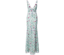 floral fitted maxi dress - Blau