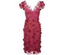 Seidenkleid mit Blumenstickerei - Rot