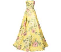 Seidenabendkleid mit floralem Print - Gelb & Orange