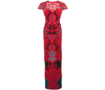 Besticktes Abendkleid mit hautenger Passform - Rot