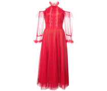 point d'esprit cold shoulder dress - Rot