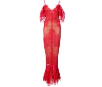 Schulterfreies Abendkleid mit Stickereien - Rot