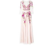 Abendkleid mit floralen Stickereien - Rosa & Lila