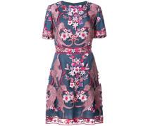 floral short sleeve cocktail dress - Blau