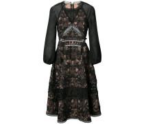Ausgestelltes Kleid mit semi-transparenten Ärmeln - Schwarz