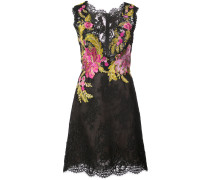 floral embroidered lace dress - Schwarz