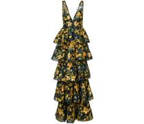 Gestufte Robe mit Blumen-Print - Schwarz