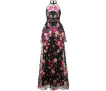 Florales Organza-Kleid - Schwarz