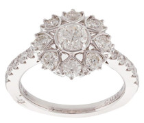 18kt Weißgoldring mit Diamanten - Silber