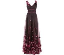 Abendkleid mit Blumenapplikationen - Rosa