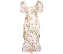Kleid mit Blumen-Print - Weiß