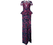 floral embroidered maxi dress - Blau