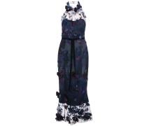 Langes Kleid mit Applikationen - Blau