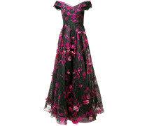 Langes Kleid mit Blumen - Schwarz