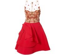 sheer embellished ruffle dress - Rot
