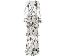 Besticktes Kleid mit floraler Spitze - Weiß
