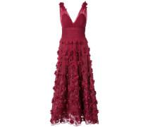 Ausgestelltes Abendkleid mit floralen Stickereien - Rot