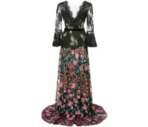 floral embroidered maxi dress - Schwarz