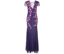 Florales Abendkleid mit tiefem Rückenausschnitt - Rosa & Lila