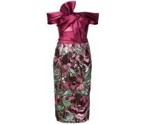 Schulterfreies Kleid mit floralen Details - Rosa & Lila