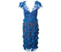 Verziertes Kleid mit V-Ausschnitt - Blau