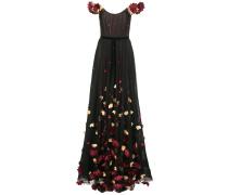 Schulterfreies Kleid mit Stickerei - Schwarz
