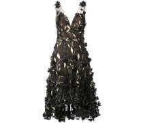 Kleid mit floralen Stickereien - Schwarz