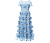 Abendkleid mit Blumenapplikationen - Blau