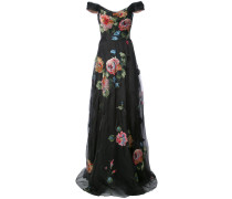 Florales Abendkleid mit schulterfreiem Design - Schwarz