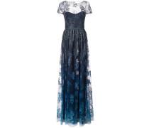 Robe mit Blumenstickerei - Blau