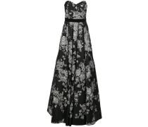 Kleid mit Blumenstickerei - Schwarz