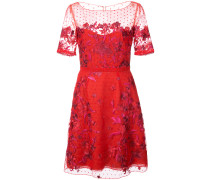 embroidered point d'esprit mini dress - Rot