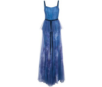 Abendkleid mit Print - Blau