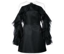 ruffle-sleeve fitted dress - Schwarz