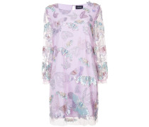 Besticktes Kleid mit Schmetterlingen - Rosa & Lila