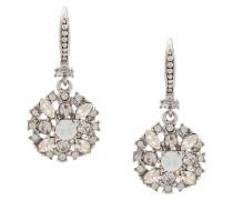 Versilberte Ohrringe mit Kristallverzierung - Grau