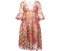 Gepunktetes Kleid mit ausgestellter Form - Rosa