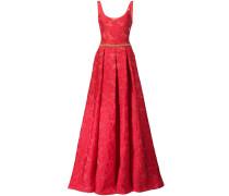 Abendkleid mit Rosenmuster - Rot