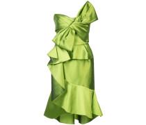 Schulterfreies Kleid mit Schleife - Grün