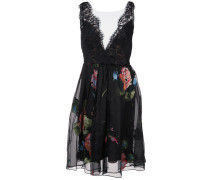 Seidenkleid mit floralem Print - Schwarz