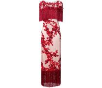 Florales Abendkleid mit Pailletten - Rot