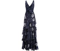 Robe mit Blumen-Print - Blau
