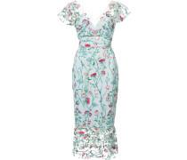 floral embroidered midi dress - Blau