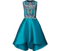 Verziertes Kleid mit asymmetrischem Saum - Blau
