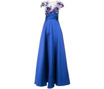 Abendkleid mit floralen Applikationen - Blau