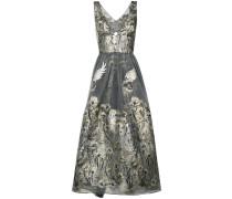 Metallisches Kleid mit floraler Musterung - Grau